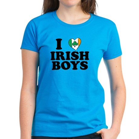 I Love Irish Boys Heart Women's Dark T-Shirt