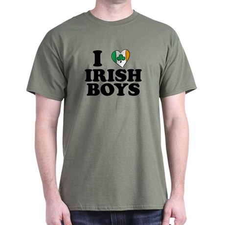 I Love Irish Boys Heart Dark T-Shirt