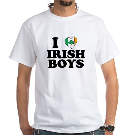 I Love Irish Boys Heart White T-Shirt