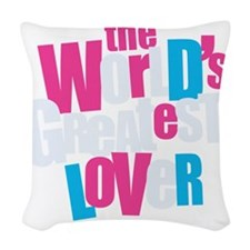 WorldsGreatestLover_DarkShirt Woven Throw Pillow