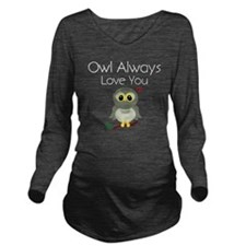 OwlAlways_DarkShirt Long Sleeve Maternity T-Shirt