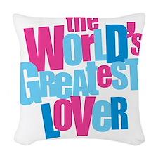 WorldsGreatestLover_LightShirt Woven Throw Pillow