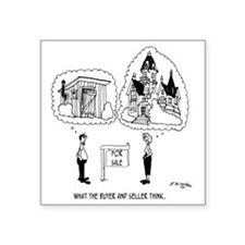 "5964_real_estate_cartoon Square Sticker 3"" x 3"""