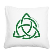 Celtic Holy Trinity Green Square Canvas Pillow