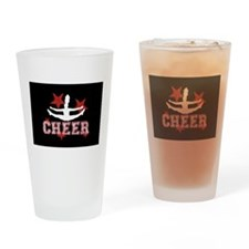 Cheerleader in black and red Drinking Glass