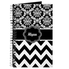 Black White Damask Chevron Journal