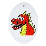 Happy Dragon Oval Ornament