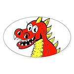 Happy Dragon Oval Sticker