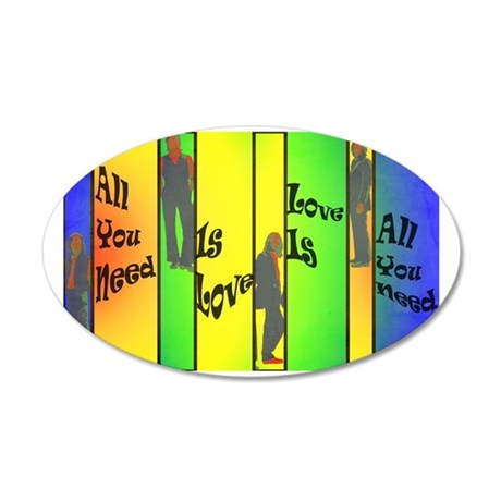Beatles-Love Is All You Need 35x21 Oval Wall Decal