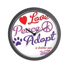 peace love adopt Wall Clock
