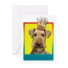 BirthdayCupcakeAiredale Greeting Card