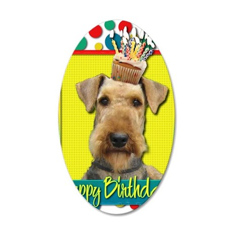 BirthdayCupcakeAiredale 35x21 Oval Wall Decal
