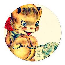 kitten yarn Round Car Magnet