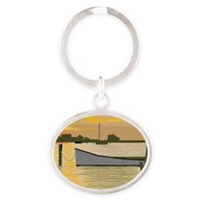 Sunset  on Silver Lake Oval Keychain