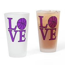 purple, Basketball LOVE Drinking Glass