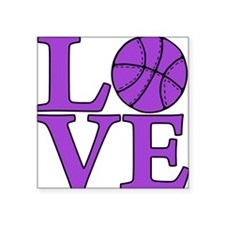 "purple, Basketball LOVE Square Sticker 3"" x 3"""