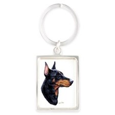 Dobermann dark Portrait Keychain