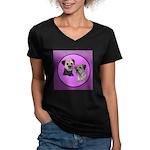 Border Terriers Women's V-Neck Dark T-Shirt