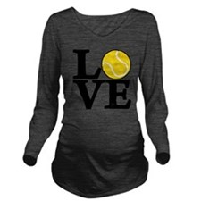 black, Tennis LOVE Long Sleeve Maternity T-Shirt