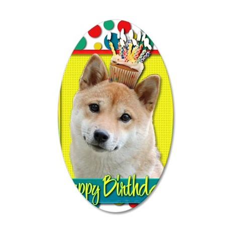 BirthdayCupcakeShibaInuBlond 35x21 Oval Wall Decal