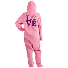 purple, Volleyball LOVE Footed Pajamas