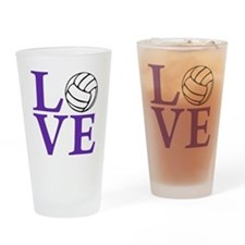 purple2, Volleyball LOVE Drinking Glass