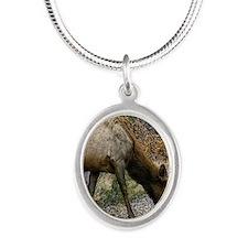 elk doe Silver Oval Necklace