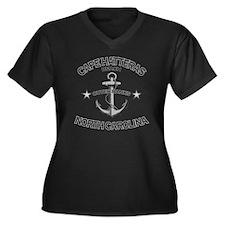 CAPE HATTERA Women's Plus Size Dark V-Neck T-Shirt