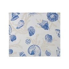 Sea Shell Design Blue Throw Blanket