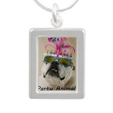 Party Animal Silver Portrait Necklace