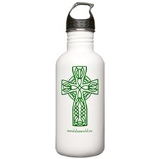 Celtic Cross n4 Green Sports Water Bottle