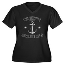 TENERIFE BEA Women's Plus Size Dark V-Neck T-Shirt