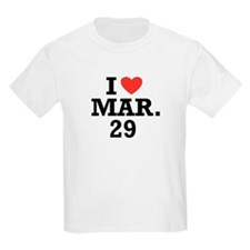 I Heart March 29 Kids T-Shirt