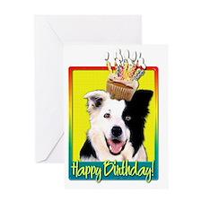 BirthdayCupcakeBorderCollieHB Greeting Card