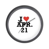 I Heart April 21 Wall Clock
