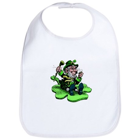 Leprechaun on Shamrock Bib