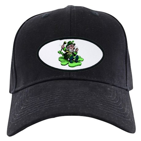 Leprechaun on Shamrock Black Cap