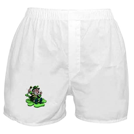 Leprechaun on Shamrock Boxer Shorts
