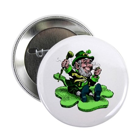 Leprechaun on Shamrock Button