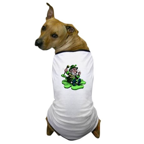 Leprechaun on Shamrock Dog T-Shirt