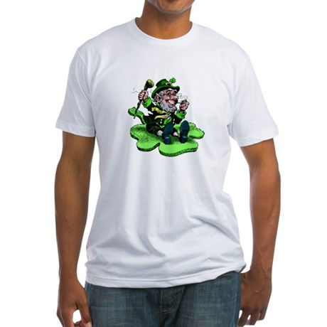 Leprechaun on Shamrock Fitted T-Shirt