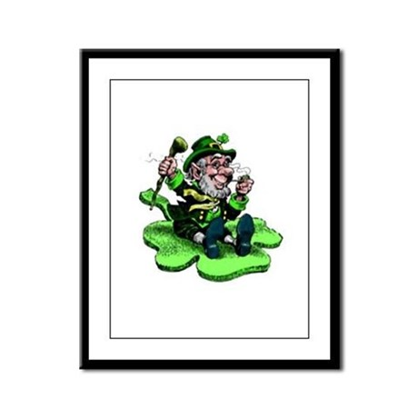 Leprechaun on Shamrock Framed Panel Print