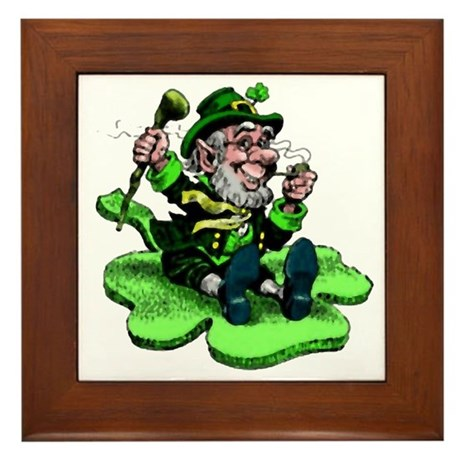 Leprechaun on Shamrock Framed Tile
