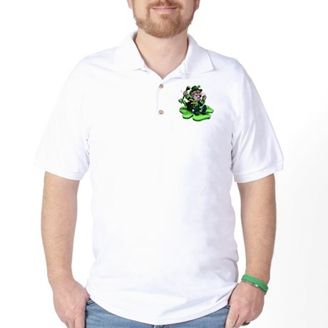 Leprechaun on Shamrock Golf Shirt