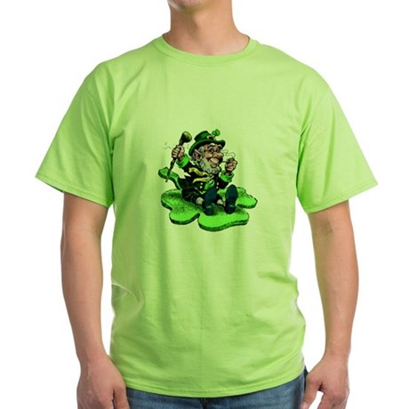 Leprechaun on Shamrock Green T-Shirt