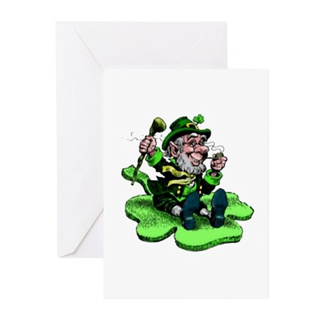 Leprechaun on Shamrock Greeting Cards (Package of