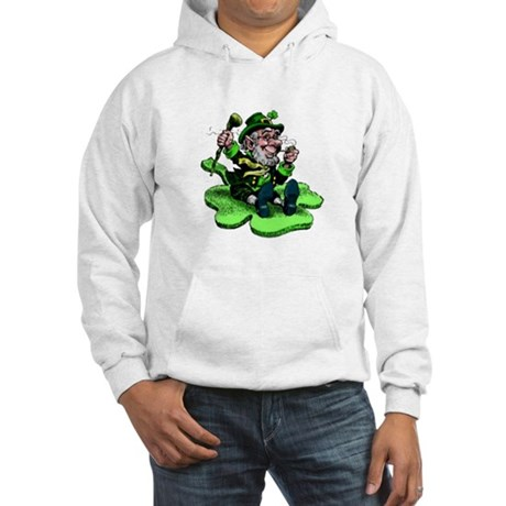Leprechaun on Shamrock Hooded Sweatshirt