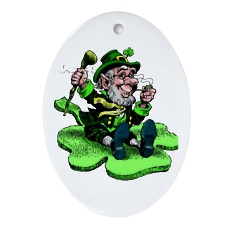Leprechaun on Shamrock Oval Ornament