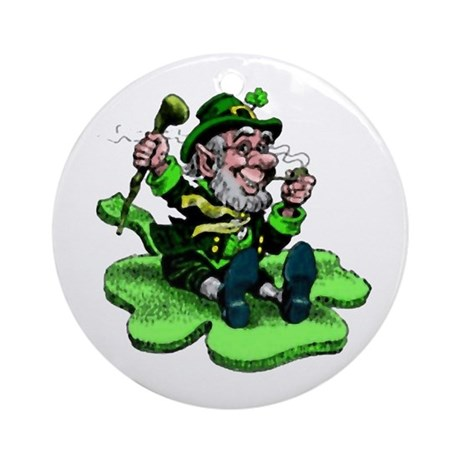 Leprechaun on Shamrock Ornament (Round)