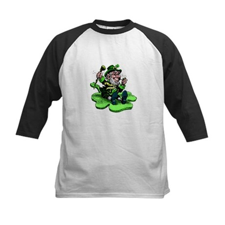 Leprechaun on Shamrock Kids Baseball Jersey